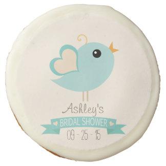 Retro Robin's Egg Blue Love Bird Bridal Shower Sugar Cookie