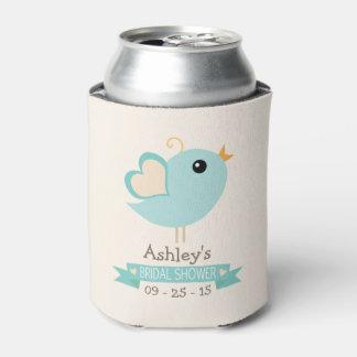 Retro Robin's Egg Blue Love Bird Bridal Shower Can Cooler