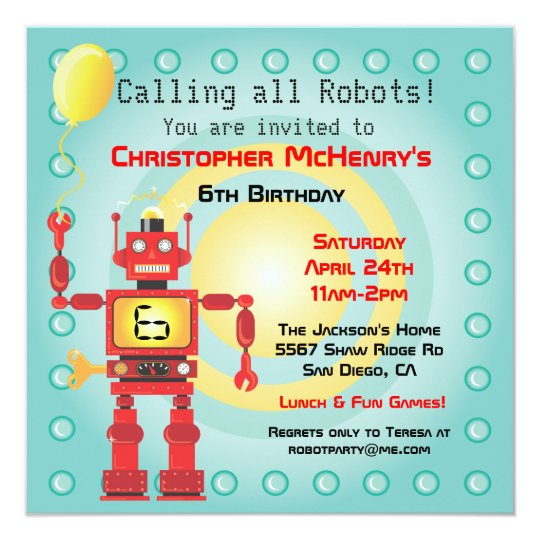 retro robot birthday party invitations zazzle com