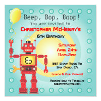 Robot birthday invitations announcements zazzle retro robot birthday party invitations filmwisefo Gallery