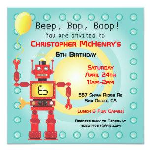 Robot birthday invitations announcements zazzle retro robot birthday party invitations filmwisefo