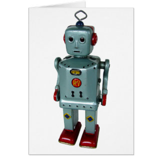 Retro Robot Blank Greeting Card