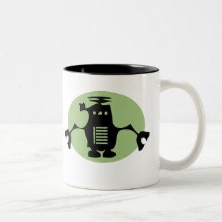 Retro Robot - Green Spotlight Two-Tone Coffee Mug