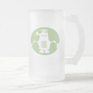 Retro Robot - Green Spotlight 16 Oz Frosted Glass Beer Mug