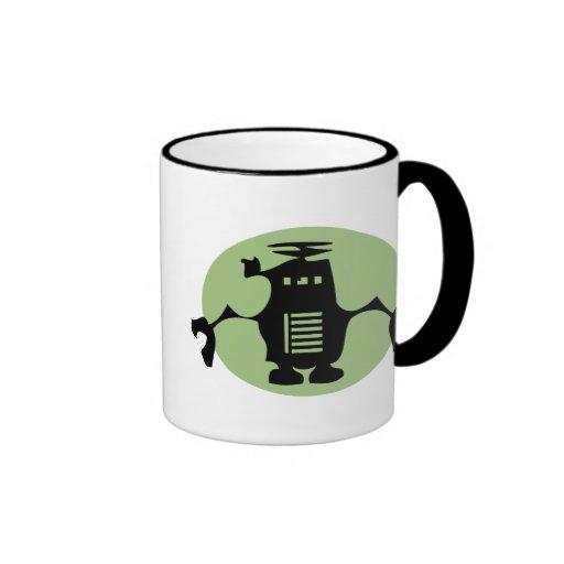 Retro Robot - Green Spotlight Ringer Coffee Mug