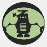 Retro Robot - Green Spotlight Classic Round Sticker