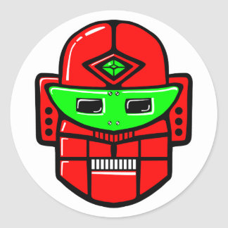 Retro Robot Head Classic Round Sticker