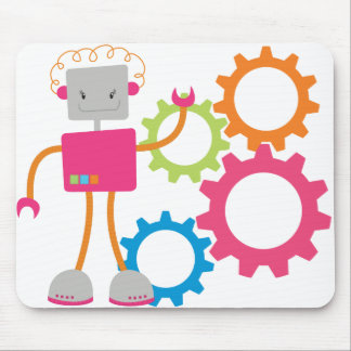 Retro Robot in Pink Mouse Pad
