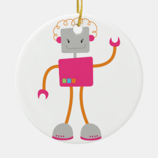 Retro Robot in Pink Ornaments