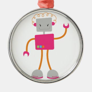 Retro Robot in Pink Christmas Tree Ornament