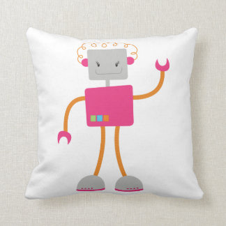 Retro Robot in Pink Pillow