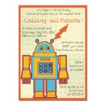 "Retro Robot-kids birthday invitation -4 5"" X 7"" Invitation Card"