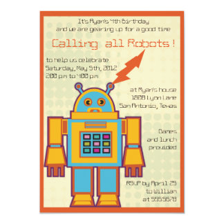 "Retro Robot-kids birthday invitation -4 5"" X 7"" Invitation Card"