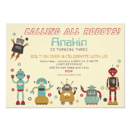 Robot birthday invitations announcements zazzle retro robot party birthday invitation filmwisefo Images