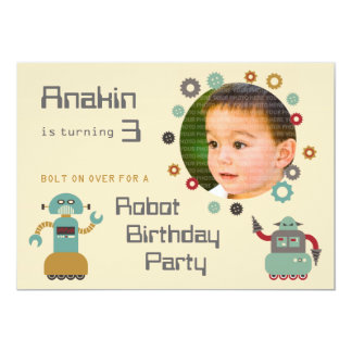 Retro Robot Party Birthday Photo Invitation