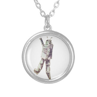 retro robot silver plated necklace