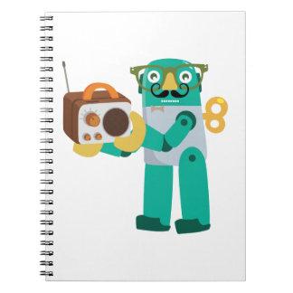 Retro Robot with Radio Spiral Notebook