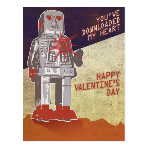 Retro Robot - You've Downloaded My Heart ... Postcard
