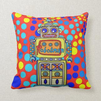 Retro Robotman Throw Pillow