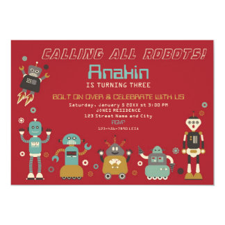 "Retro Robots Birthday Party Invitation 5"" X 7"" Invitation Card"