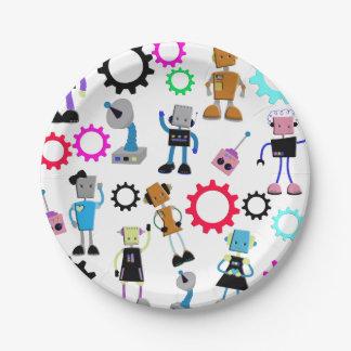 Retro Robots Paper Plate
