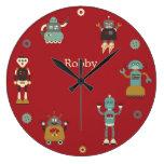 Retro Robots Personalized Clock