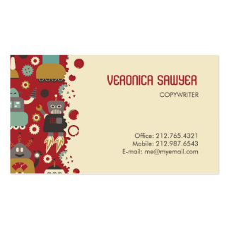 Retro Robots (Red-Cream) Biz Card Double-Sided Standard Business Cards (Pack Of 100)