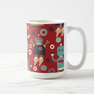 Retro Robots (Red) Mug