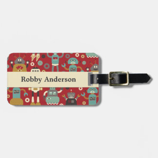 Retro Robots (Red) Personalized Luggage Tag