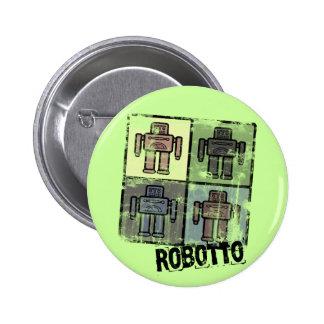 retro robotto badge pinback button