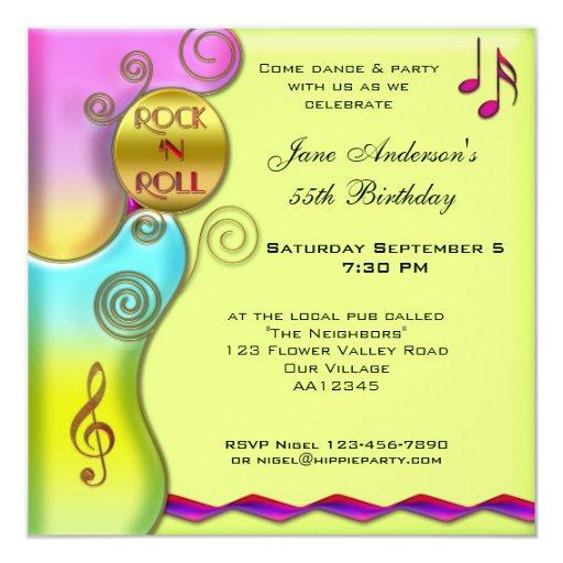 Retro Rock 'n Roll Birthday Party Invitation