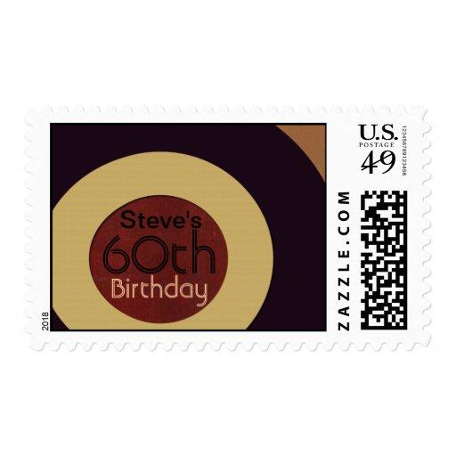 Retro rock n' roll birthday postage stamp