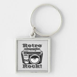 Retro Rock! Silver-Colored Square Keychain