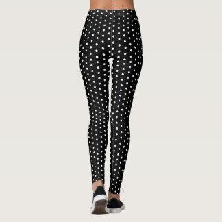 Retro Rockabilly Black Polka Dot Leggings Pants