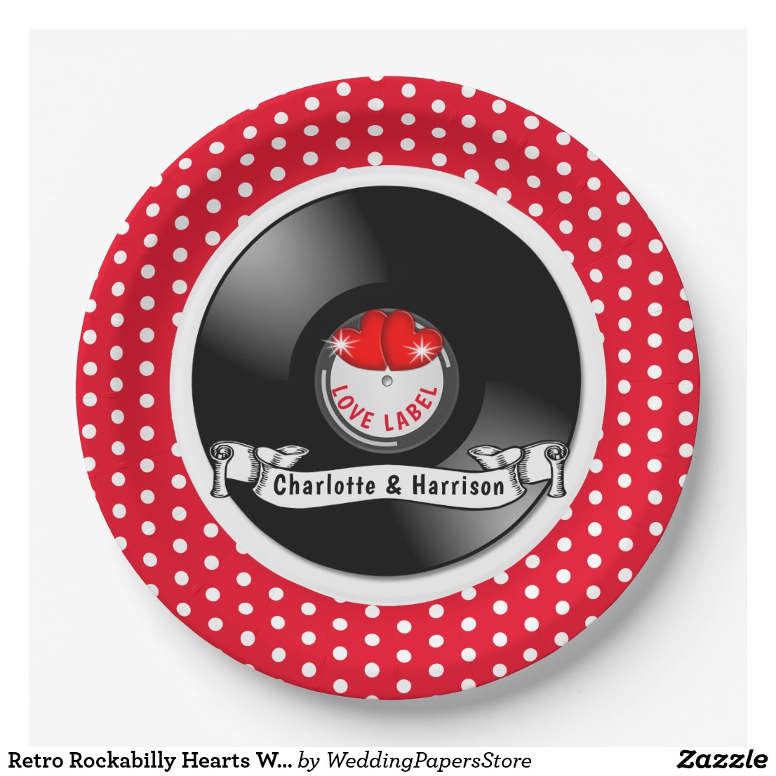 Retro Rockabilly Hearts Wedding Paper Plate