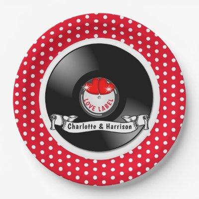 Retro Rockabilly Hearts Wedding Paper Plate