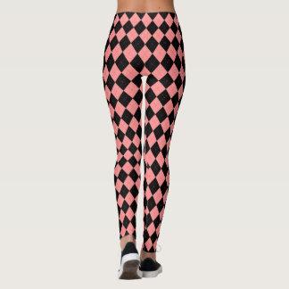 Retro Rockabilly Pink Black Argyle Leggings Pants