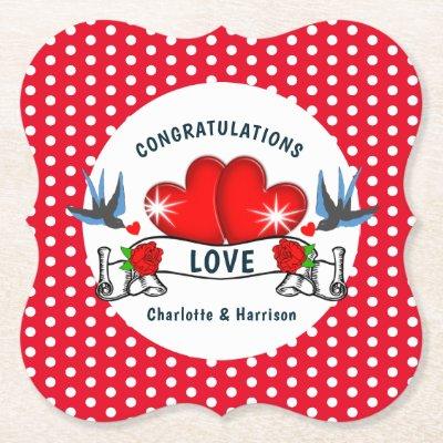 Retro Rockabilly Theme Wedding Paper Coaster