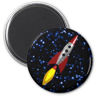 Retro Rocket 3d 2 Inch Round Magnet