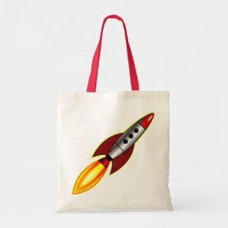 Retro Rocket Budget Tote Bag