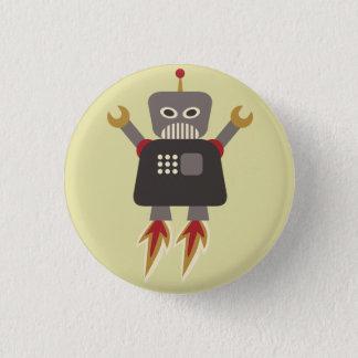Retro Rocket Cartoon Robot Flair Button