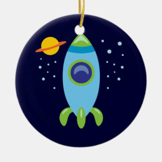 Retro Rocket Ceramic Ornament