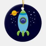 Retro Rocket Christmas Tree Ornaments