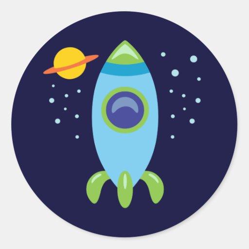 Retro Rocket Classic Round Sticker