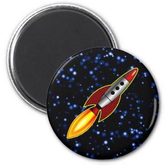 Retro Rocket - Customized 2 Inch Round Magnet
