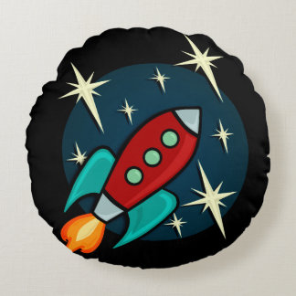 RETRO ROCKET DOUBLE SIDED ROUND PILLOW