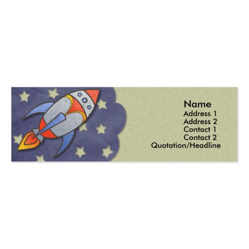 Retro Rocket Kids Skinny Profile Cards Double-Sided Mini Business Cards (Pack Of 20)