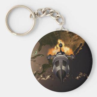 Retro Rocket Launch Keychain