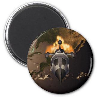Retro Rocket Launch Magnet