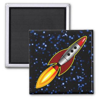 Retro Rocket 2 Inch Square Magnet